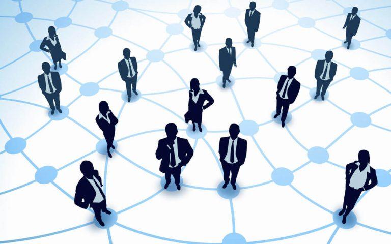 Network Marketing schema met connectie tussen personen