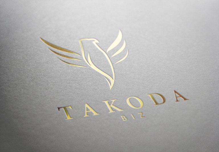 Takoda Logo in goud bedrukking op papier